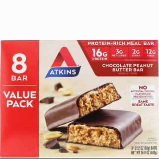 Купить Atkins Chocolate Peanut Butter Bar, 8 Bars, 2.12 oz (60 g)