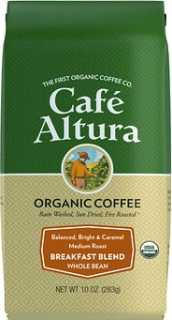 Купить Cafe Altura Organic Coffee, Breakfast Blend, Medium Roast, Whole Bean, 10 oz (283 g)