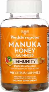 Купить Wedderspoon Manuka Honey, Immunity Gummies, Citrus, 90 Gummies