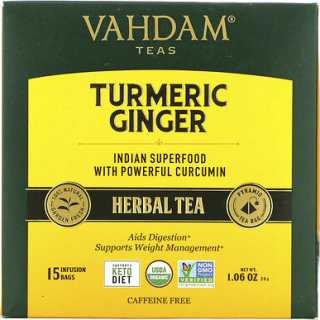 Купить Vahdam Teas Herbal Tea, Turmeric Ginger, Caffeine Free, 5 Infusion Bags, 1.06 oz (30 g)