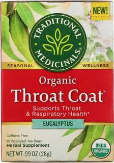 Купить Traditional Medicinals Organic Throat Coat, Eucalyptus, Caffeine Free, 16 Wrapped Tea Bags, .99 oz (28 g)