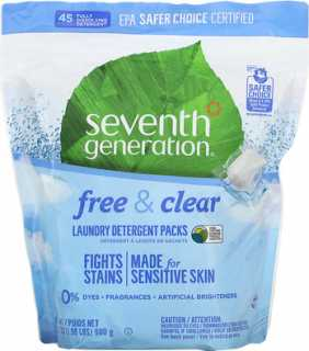 Купить Seventh Generation Laundry Detergent Packs, Free & Clear, 45 Packs, 1.98 lbs (31.7 oz)