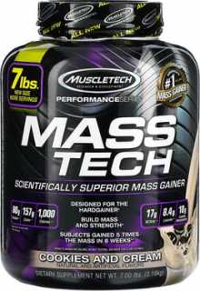 Купить Muscletech Mass-Tech, превосходный продукт для набора массы, печенье и сливки, 7, 00 фунтов (3, 18 кг)