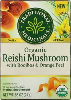 Купить Traditional Medicinals Organic Reishi Mushroom with Rooibos & Orange Peel, Caffeine Free, 16 Wrapped Tea Bags, .85 oz (24 g)
