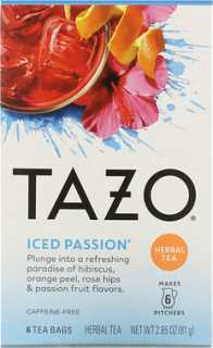 Купить Tazo Teas Herbal Tea, Iced Passion, Caffeine-Free, 6 Tea Bags, 2.85 oz (81 g)