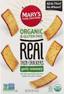 Купить Mary's Gone Crackers Крекеры Real Thin Crackers, чеснок и розмарин, 141 г