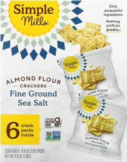 Купить Simple Mills Naturally Gluten-Free, Almond Flour Crackers, Fine Ground Sea Salt, 4.9 oz (138 g)