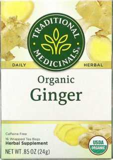 Купить Herbal Teas, Organic Ginger, Caffeine Free, 16 Wrapped Tea Bags, .05 oz (1.5 g) Each