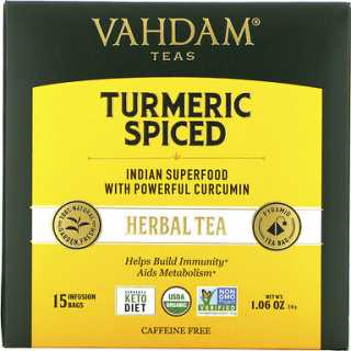 Купить Vahdam Teas Herbal Tea, Turmeric Spiced, Caffeine Free, 15 Tea Bags, 1.06 oz (30 g)